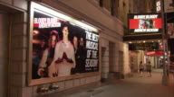 WS Broadway billboard and marquee: Bloody bloody Andrew Jackson, night / Manhattan, New York City, New York, USA