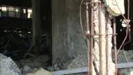 Broken concrete poles show reinforcing steel inside an abandoned building in ruins.