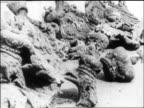 B/W 1918 broken masonry emblems of Czar's rule lying on ground / Russia / documentary