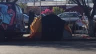 Broll footage of homeless peoples' encampments in Mission District of San Francisco