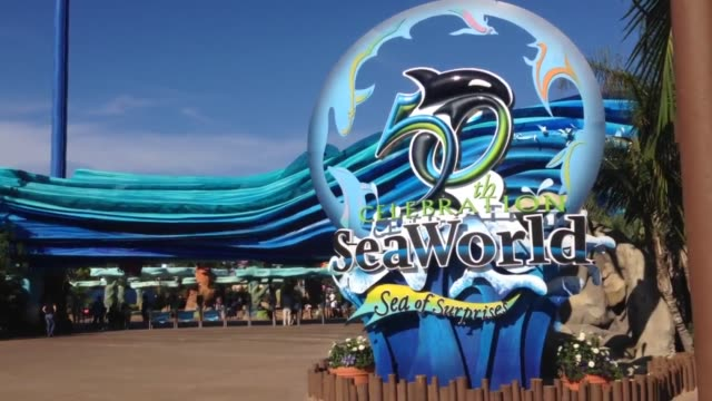 Broll footage of Sea World in San Diego after Sea World decided to phase out its Killer Whale shows in light of animal cruelty concerns