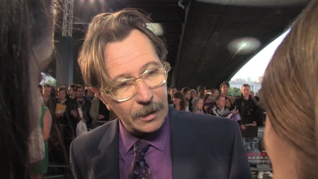 Gary Oldman talks to news crews at the UK Premiere of Tinker Tailor Soldier Spy BRoll Gary Oldman talks to news crews at BFI Southbank on September...
