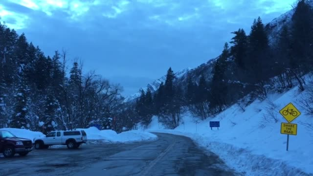 Broll of road closed signs near Gobblers Knob where one 49yearold expert skier died and one 50yearold survived in an avalanche that occurred at about...