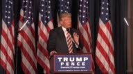 Broll of the beginning of Trump's foreign policy speech in Philadelphia Trump also discussed his plans to increase military spending and end the...