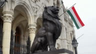 Bronze Lion At The Budapest Hungarian Parliament Building
