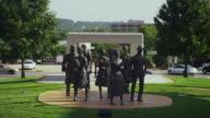 Bronze statue of 'The Little Rock Nine' segregated Little Rock Central High School students