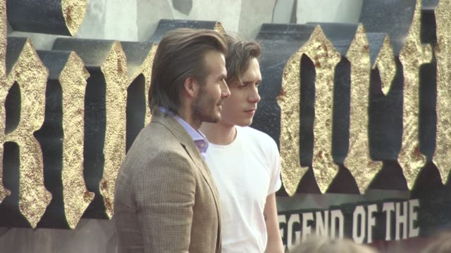 Brooklyn Beckham David Beckham at 'King Arthur Legend of the Sword' European Film Premiere at Cineworld Empire on May 10 2017 in London England