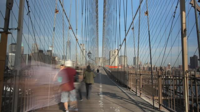 Brooklyn Bridge and pedestrian walkway looking towards Manhattan from east tower.