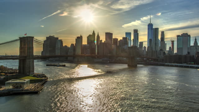 Brooklyn bridge day sunset New York City time lapse