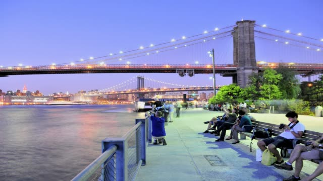 LAPSE Brooklyn Bridge Park Pier 1 Manhattan Skyline view of the Brooklyn Bridge and Manhattan Bridge Brooklyn New York City USA TIME LAPSE Brooklyn...