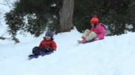 WS TS Brother (6-7) and sister (10-11) sledding down hill in snow / Richmond, Virginia, USA