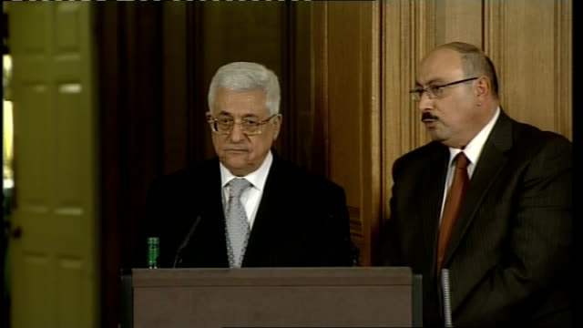 Brown meets Abbas Press conference Mahmoud Abbas press conference SOT Thank you very much Mr Prime Minister to receive us today after a very...