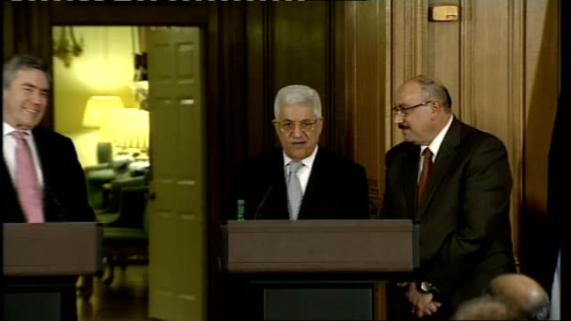 Brown meets Abbas Press conference Question on accounting for spending of aid money in Palestine President Abbas press conference SOT The...