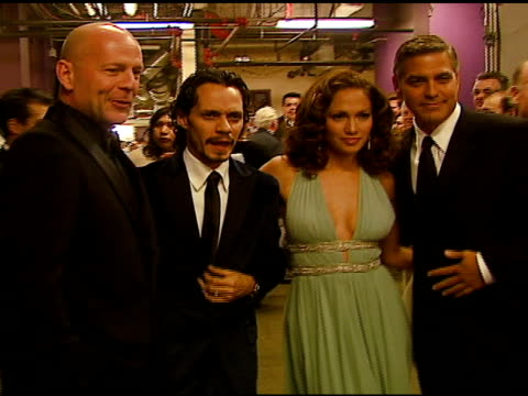 Bruce Willis Marc Anthony Jennifer Lopez and George Clooney at the Singers and Songs Celebration of Tony Bennetts 80th Birthday By Raising Funds for...