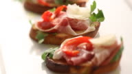 CU TU Bruschetta on plate / London, United Kingdom
