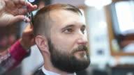 brutal barber scissors mows bearded hipster