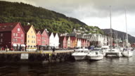 Bryggen old town in Bergen: view from the harbor