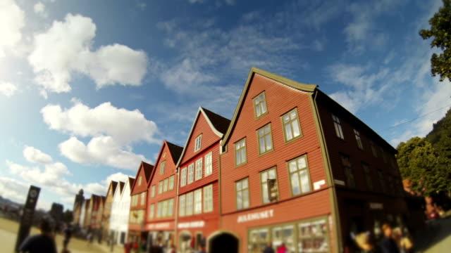 Bryggen old town wooden houses in Bergen