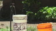 Buckets By Outdoor Ground Water Spigot
