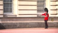 Police reveal suspect had a fourfoot sword ENGLAND London Buckingham Palace EXT General view tourists along past palace gates Palace guard in...