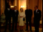 Legionnaires Disease LIB Buckingham Palace Int Queen and Duke of Edinburgh posing with Alan Shearer and Colin Hendry at reception