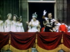 June 2 1953 Queen Elizabeth II Prince Philip waving from balcony after coronation / London