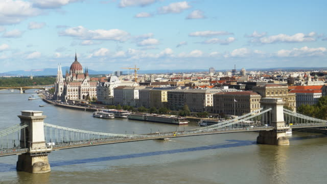 Budapest Skyline With Chain Bridge And The Parliament Building