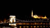 Budapest Széchenyi chain bridge and Danube river by night
