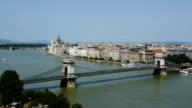 Budapest - with the Danube River, Chain Bridge, Hungarian Parliament Building. View from Buda Castle