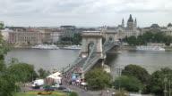 BudapestLong view of Chain Bridge in Budapest Hungary