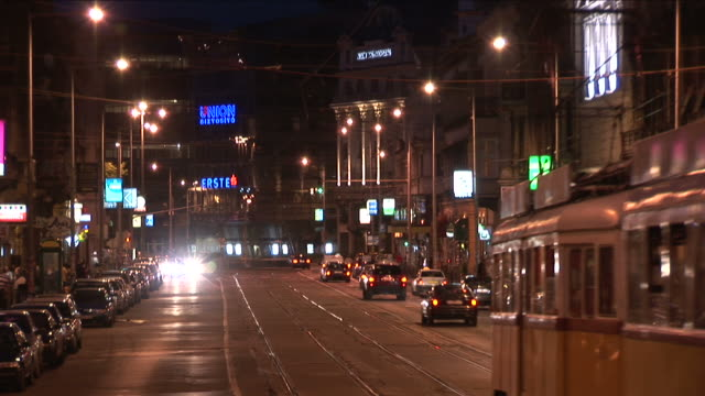 BudapestNight view of a street in Budapest Hungary