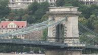 BudapestSide view of Chain bridge in Budapest Hungary