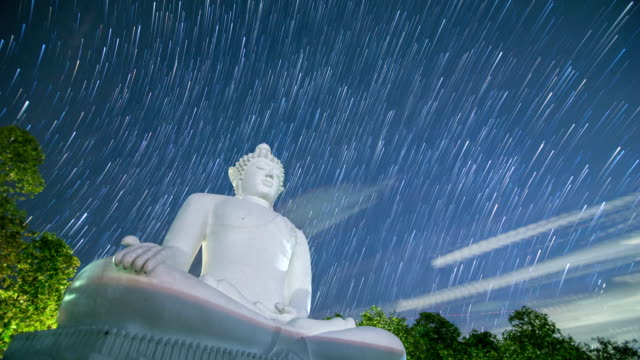 Buddha statue with Milky Way background