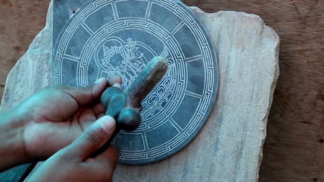 Buddhist Mani Slate Stone Carving Nepal