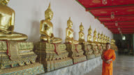 WS DS buddhist monk walking along row of Buddha statues in Wat Pho, front view, RED R3D 4K