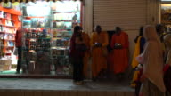 Buddhist Monks Praying On The Central Street In Leh, Ladakh In The Evening