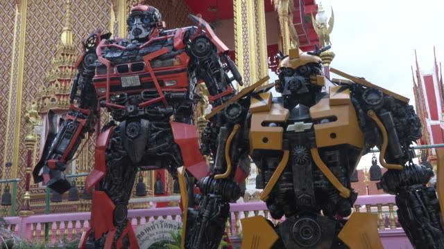 Buddhist pray at Wat ta Khian temple in Nonthaburi Thailand It is a large temple with a floating market and huge transformers statues