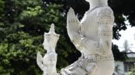 MS R/F Buddhist Statue with hands folded for prayer at Wat Khunaram temple (Ko Samui Island) / Wat Khunaram, Ko Samui, Thailand