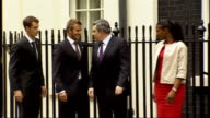 New fifty percent tax rate for rich TX David Beckham Denise Lewis and Andy Murray along Downing Street with Gordon Brown MP
