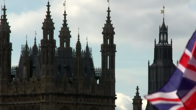 Reaction to National Insurance rises London Westminster EXT Rodin 'Burghers of Calais' statue with Victoria Tower behind/ Long shot of spires of...
