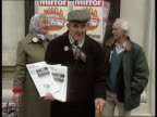 VAT on fuel OAPs call for compensation ENGLAND London Westminster SEQ OAPs with placards on demo ITN