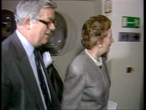 EC Budget BELGIUM CMS PM Margaret Thatcher and Geoffrey Howe Brussels LR and past TX CMS Press filming PULL OUT Thatcher and ITN Howe at pkf