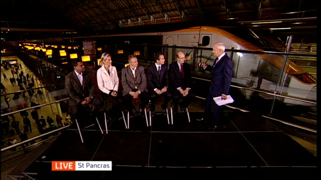 Budget deal / Britain's future in Europe ENGLAND London St Pancras Station INT DISCO Roland Rudd LIVE Interview SOT Costs and benefits to UK of...