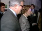 Brussels Margaret Thatcher and Geoffrey Howe towards followed by Bernard Ingham PAN LR as past CMS Press filming PULL OUT Thatcher and Howe at pkf...
