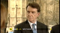 Speech ENGLAND London Westminster EXT Lord Mandelson Peter Mandelson MP interview SOT Job of the budget was to secure the recovery good judgement by...