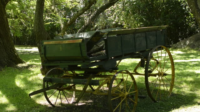 Buenos Aires Argentina Gaucho cowboy ranch for tourists outside city called Don Silvano Ranch with old wood cart with wheels