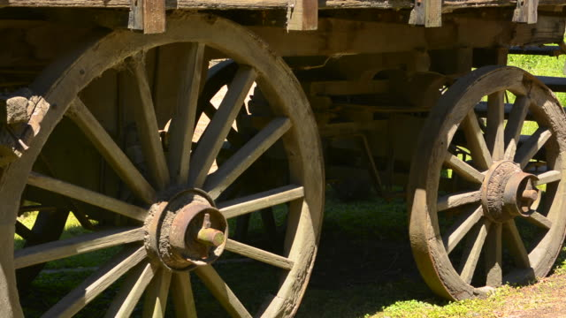 Buenos Aires Argentina Gaucho cowboy ranch for tourists outside city called Don Silvano Ranch with old wood cart with closeup wheels