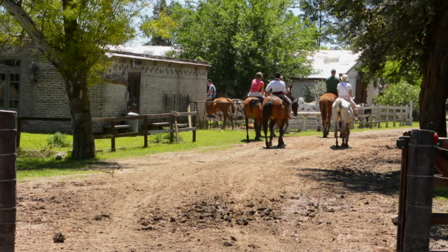 Buenos Aires Argentina Gaucho cowboy ranch for tourists outside city called Don Silvano Ranch with horse drawn buggie ride