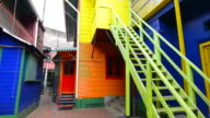 Buenos Aires Argentina La Boca colorful bright primary colors doors and stairs