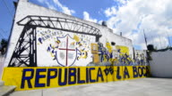 Buenos Aires Argentina La Boca colorful mural of La Boca on basketball court